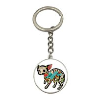 Wholesale Picture Body Jewelry - 6 style Sugar Skull Animal Pictures Bird Glass Cabochon Dome Keyring Rose Flower Photo Pendant Body Chain Women Jewelry Hot NS144