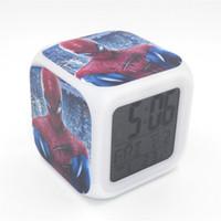 Wholesale Spider Man Digital Alarm Clock - New Led Alarm Clock Spider-man Creative Desk Table Clock Calendar Digital Alarm Clock for Unisex Adults Kids Toy Gift