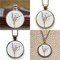 Wholesale Gymnastics Art - 10pcs Gymnastics Art Print sportsman Glass Photo Necklace keyring bookmark cufflink earring bracelet