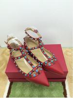 Wholesale Luxury Gems Wedding Shoes - b109 40 41 42 genuine leather gem strap flat shoes pointy ballerinas luxury designer red white pink black