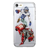 Wholesale wholesalers football phone cases - JOYLAND red grab football player athlete Phone shell Clear sports Case For iPhone 5 5s se 6 6S 6plus 7 7plus 8 8s plus X and Samsung