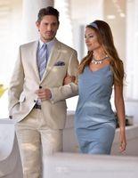 Wholesale Terno Custom Made - Champagne Men Suits Stylish Grooms Men Beach Wedding Tuxedo Custom Terno Masculino (Jacket+Pants) Men's Prom Party Suits Blazer Slim Fit