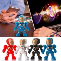 Wholesale Metal Robot Usb - C-89 Iron Man Bluetooth Mini Speaker With LED Color Flash light Figure Robot portable Mini wireless subwoofers bluetooth support TF FM USB