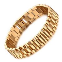 Wholesale Men Cuff Watches - 15mm Luxury Men Watch Band Bracelet Gold Plated Stainless Steel Strap Links Cuff Bangles Jewelry Gift