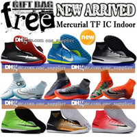 Wholesale Leather Turf Soccer Shoes - Mens Indoor Soccer Shoes New Ronaldo Neymar Mercurial Superfly V CR7 IC TF Football Boots MercurialX Proximo Indoor Soccer Cleats Turf