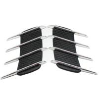 хромированные решетки оптовых-Акула жабры стайлинга автомобилей 3D Vent Air Flow крыло хром сплава металла наклейка наклейка автомобиль или грузовик пользовательские наклейки Бесплатная доставка