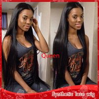 Wholesale Glueless Full Lace Wig Synthetic - Wholesale Beauty Black Silky Straight Long Wigs Heat Resistant Glueless Full Lace Synthetic Wigs with Baby Hair Africa American Wig