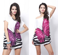 Wholesale Ice Silk Printed - 2017 Summer Hot Women Leisure Casual Butterfly Print Ice Silk Dress