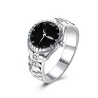 Wholesale Watch Rings China - Wholesale Women Fashion Creative Watch Ring Silver Plated Jewelry Watch Shaped Inlaid Cz Zircon Ring Cheap Jewelry Free Shipping