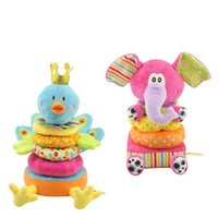 Wholesale soft building blocks - Wholesale- HOT 26cm Baby Soft Rattles Mobiles Elephant Peacock Plush Play Animal Building Blocks Toys Early Educational Brinquedos Colorful