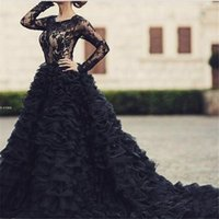 Wholesale Long Sleeve Black Lace Gown - Long Sleeve Black Evening Dress 2017 Avondjurken Lange Ball Gown Long Elegant Prom Dresses Special Occasion Party Gowns Tope Lace