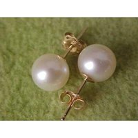 Wholesale Earrings Pearl 14 - 2016 new round AAA + 8-7mm South Seas white pearl earrings with 14 k