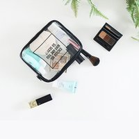 Wholesale Stylish Cosmetic Bags - Transparent cosmetic bag modern stylish TPU lucency square package travel waterproof dampproof durable feel good S M