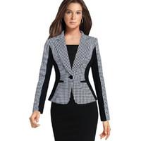 blazer feminino venda por atacado-Outono Novo Plus Size Mulheres Terno Blazer Houndstooth Costura Feminino Trabalho de Negócios Fino Longo-Sleeved Ternos Curtos Com Patchwork
