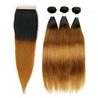 Wholesale Closure Colored - Ombre Human Hair Silky Straight T 1b 30 Dark Root Ombre Hair 3 Bundles with Lace Closure Colored Peruvian Hair Free Part Closure