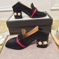 ingrosso scarpe di grandi dimensioni per le signore-Fashion Pearls Womens Dress Shoes Block talloni Square toe Ladies Loafers Real Pics Big Size euro 41