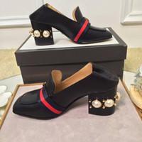 zapatos de vestir de tacón grueso para mujer al por mayor-Moda perlas zapatos de vestir para mujer zapatos de tacón alto punta cuadrada mocasines para damas fotos reales tamaño grande euro 41