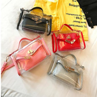 Wholesale Handbag Transparent Crystal - Summer Women Crystal Transparent Tote Jelly Bag PVC Beach Handbags Korean Women Shoulder Bag Female Messenger Bag