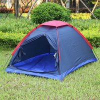 Wholesale Double Resistance - Double Layer Two Person Camping Tent Outdoor Camping Tent Kit Fiberglass Pole Water Resistance with Carry Bag Hiking Traveling +B