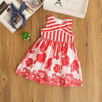Wholesale Stripe Layer Dress - Everweekend 2017 Girls Rose Print Stripe Dress Ruffles Sleeveless Red Color Double layer Princess Summer Party Dress
