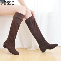 Wholesale wholesale knee high boots - Wholesale- MISSC 2016 Flock Knee High Boots Women Three Wear Stretch Boots Fashion Winter Slim Fit Slip On Wedge Women Shoes Size 40 WBS232