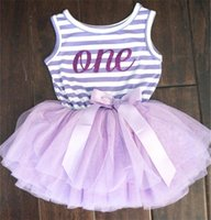 Wholesale Lace Denim Toddler Dress - Wholesale- Hot Toddler Girl Summer Dress Striped Baby Girl First Birthday Outfits Kids Clothing Infant Princess Girl Casual Tutu Clothes