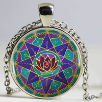 spiritual accessories - Spiritual Abundance Mandala Logo Pendant Necklace Heart shaped Vintage Bronze Chain Necklace Women Jewelry Men Dress Accessories