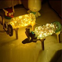 Wholesale Led Small Christmas Tree - Solid wood creative Christmas fire tree silver flower glass glass deer table lamp LED small elephant night light