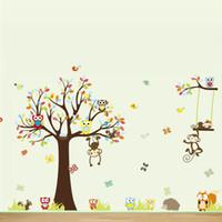 macacos da arte da parede do berçário venda por atacado-Macaco Da Selva bonito adesivos de parede para quarto de crianças decorações para casa animais arte da parede diy berçário dos desenhos animados decalques de parede