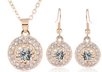 Wholesale River Designs - Free shipping new design full rhinestone crystal moon river necklace earrings gold-plated jewelry sets charm women gift