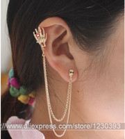 Wholesale Gold Skull Ear Cuff - Fashion NEW GOLD PLATED SKULL EAR CUFF CRYSTAL CHAIN PUNK GOTH CLIP WRAP CHAIN AND EAR CLIP Septum Rings 10PCS LOT