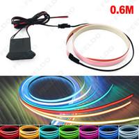Wholesale Car Ambient Lights - 10 Colors 100CM*14MM 1m Electroluminescent Tape EL Wire Cold Light Strip Car Ambient Light DC 12V #4468