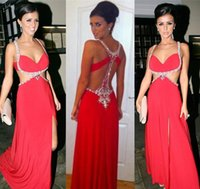 Wholesale Lucy Sky - 2017 Sexy Lucy Mecklenburgh A-Line Evening Dresses Crystal Sequins Hollow Big leakage back Spaghetti Strap Backless Party Celebrity Gowns
