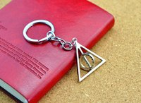 Wholesale Rotating Keychain - 50PCS Lot Harry Porter and The Deathly Hallows Pendant Keychain Luna Rotating Triangle Key Chain Wholesale