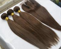 jungfrau braun 32 menschenhaareinschlagfaden großhandel-Peruanisches Menschenhaar-Spitze-Schließung mit Bündeln Farbe # 4 Mittleres Brown-gerades 3Pcs Jungfrau-Haar-Schuß mit drei 3 Weisen-Teil-Spitzenverschlüssen