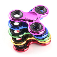 Metallic Color Plating Hand Spinner Fidget Spinner Metal EDC Steel Ball Bearing Tri-Spinner Fidget Toy Adultos Focus Anti Stress Gifts