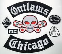 Outlaw Chicago Forgives Embroidered Iron On Patches Fashion Big Size For Biker Jacket Full Back Custom Patch