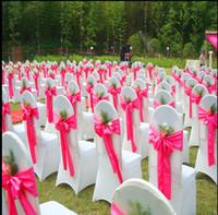 cubiertas de la silla de la boda de satén amarillo al por mayor-Fajas de satén silla rojo, rosa, azul, amarillo, púrpura Suministros de boda nupcial de la boda cubre los accesorios de la boda 2017 nueva llegada