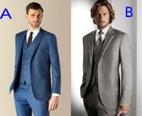 Wholesale B 52 - A B Two Style Groom Tuxedos Groomsmen Best Man Suit Wedding Groomsman Men Suits Bridegroom(Jacket+Pants+Tie+Vest)