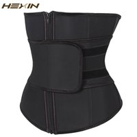 подтяжка корсета талия cincher оптовых-Wholesale- HEXIN Abdominal Belt High Compression Zipper Plus Size Latex Waist Cincher Corset Underbust Body Fajas Sweat Waist Trainer