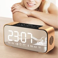 Wholesale Aluminum Clocks - Wholesale- Bluetooth Speaker Wireless Stereo Aluminum Parlante Portable FM Radio Altavoz Support Time clock Alarm clock TF card Line in