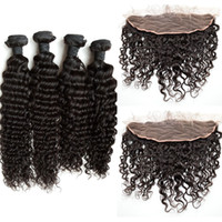 Wholesale Deep Wave Lace Frontals - Deep Curly Deep Wave Lace Frontal Closure With 4 Bundles Unprocessed Human Hair Malaysian Virgin Hair Lace Frontals G-EASY