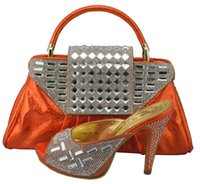 Hot sale african shoes match bag series 1308-36 orange lady shoes and bag set set for party