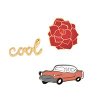 Atacado - 1 pcs Cool Rose Flower Car Broche Pins Button Vintage Broches de esmalte para mulheres Homens Jean Bag Jacket Collar Badge Jóias de moda
