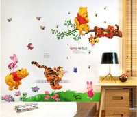 Wholesale Cheap Stickers Kids - 2pc wholesale removable cheap winnie pooh children bedroom wall stickers teddy bear wall art decal for baby
