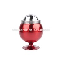 Wholesale Crystal Ball Holder Stand - Wholesale- Useful Round Ball Standing Metal Craft Cigarette Holder Large Ashtray With Lids Smoking Set