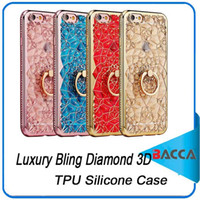 Para iPhone 7 Plus Case Luxo Bling Diamond 3D Soft TPU Silicone Back Cover para iPhone 7 6 6Plus 6s Plus Case Ring Stand