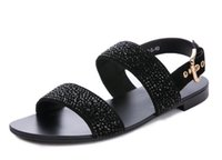 Wholesale Diamond Sandals Open Toe - Free delivery of new couples men and women exposed toe GZ sandals summer black diamond scrub leather leather sandals