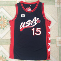 Wholesale Atlanta Olympics - 15 Hakeem Olajuwon USA Basketball Jerseys 1996 Atlanta Olympic Games Dream Team Men Basketball Jersey