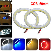 Wholesale 2 White MM COB LED Angel Eyes Headlight Halo Ring Warning Lamps with Cover